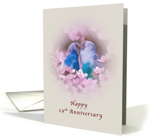 Anniversary, 19th, Loving Parakeets and Pink Flowers card (1142744)