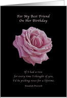 Birthday, Best Friend, Pink Rose on Black card