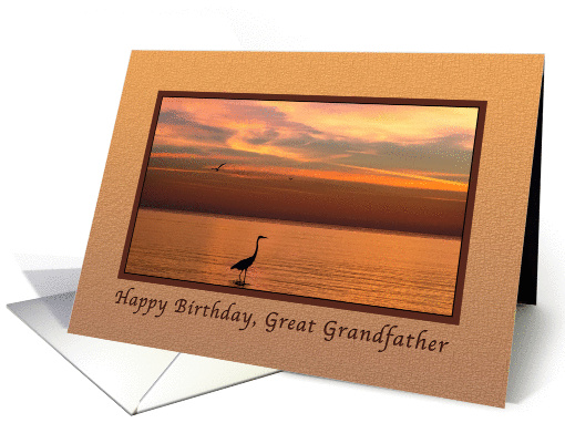 Birthday, Great Grandfather, Ocean Sunset with Birds card (1177430)