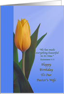 Birthday, Pastor's Wife, Tulip Flower, Religious card