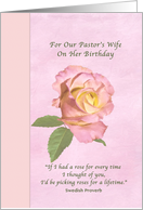 Birthday, Pastor's Wife, Pink and Yellow Peace Rose card