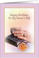 Pastor's Wife Birthday Card with Aged Hands and Bible card