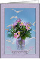 Pastor's Wife's, Birthday, Birds and Flowers card