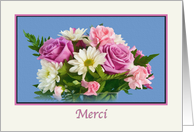 Thank you, Merci, French, Floral Bouquet card