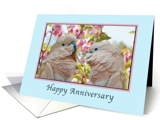 Anniversary, Wedding, Parrots and Crab Apple Blossoms card (783419)