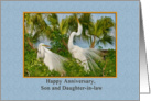 Anniversary, Son and Daughter-in-law, Great Egret Birds card