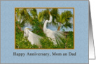 Anniversary, Parents, Great Egret Birds card