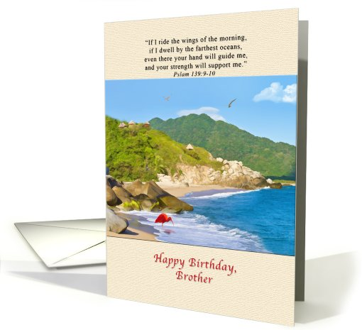 Birthday, Brother, Beach, Hills, Birds card (820923)
