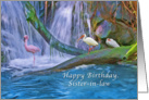 Birthday, Sister-in-law, Tropical Waterfall, Flamingos, Ibises card
