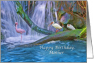 Birthday, Mother, Tropical Waterfall, Flamingos, Ibises card