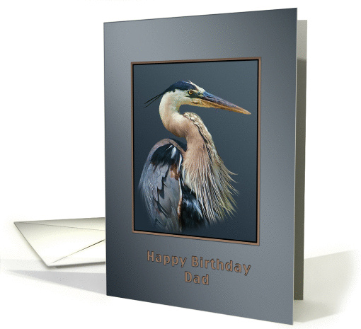 Birthday, Dad, Great Blue Heron Bird on Gray and Silver card (953515)