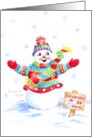 Christmas Snowman Selling Snowcones In The Snow card