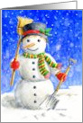 Christmas Happy Snowman Busy In the Snow card