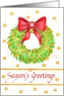 Season's Greetings Business Traditional Holiday Star Wreath card