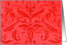 Blank Note Any Occasion Red Damask card