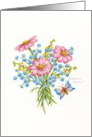 Thinking of You Flower Bouquet with Butterfly card