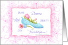 Blank Note Princess Shoe And Pink Tulips card
