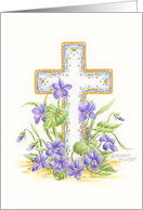 Easter Christian Prayer Cross Spring Violets card