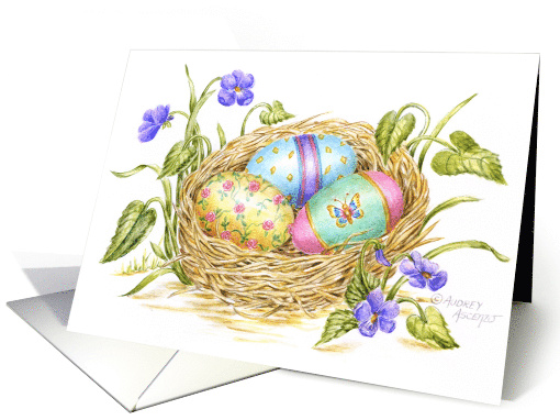 Easter Painted Eggs In Nest card (165126)
