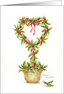 Christmas Remembrance Holly Heart Topiary card