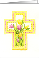 Easter Christian Beautiful Tulip Cross card