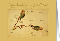 Birthday for a Pisces - Vintage card