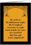 Halloween Party Invitation with Spiders and Spider Webs card