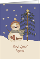 Nephew Cute Snowman Christmas Card