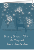 Son And Son In Law Reindeer Snowflakes Christmas card