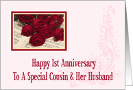 Cousin And Her Husband 1st Anniversary Card