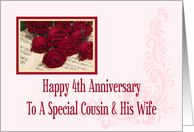 Cousin And His Wife 4th Anniversary Card