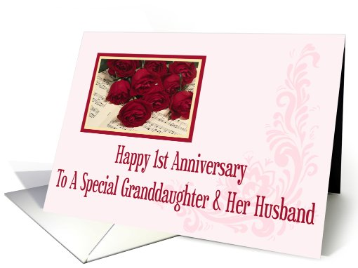 Wedding anniversary cards for granddaughter from greeting card universe granddaughter and her husband 1st anniversary card m4hsunfo