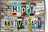 License Plates Happy Anniversary Car Lover card