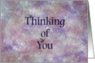 Thinking of You notecard with painted background, textured appearance card