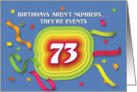 Happy 73rd Birthday Celebration with confetti and streamers card