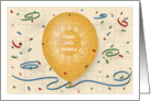 Happy 64th Birthday with orange balloon and puzzle grid card