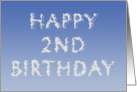 Happy 2nd Birthday written in clouds card