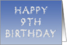 Happy 9th Birthday written in clouds card