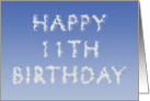 Happy 11th Birthday written in clouds card