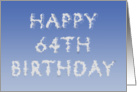 Happy 64th Birthday written in clouds card