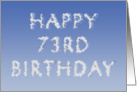 Happy 73rd Birthday written in clouds card