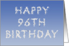 Happy 96th Birthday written in clouds card