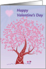 Happy Valentine's Day, colorful tree with heart shaped leaves card