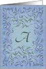 Monogram, Letter A with blue background card