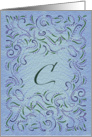 Monogram, Letter C with blue background card