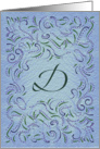 Monogram, Letter D with blue background card