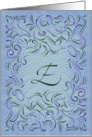 Monogram, Letter E with blue background card