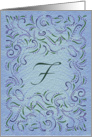 Monogram, Letter F with blue background card