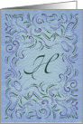 Monogram, Letter H with blue background card