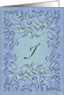 Monogram, Letter I with blue background card